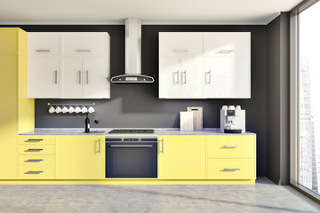 Gray kitchen, yellow counters