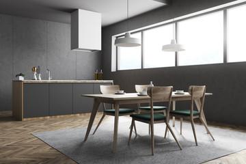 Dark gray kitchen and dining room corner