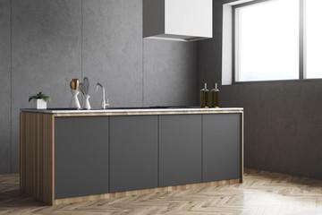 Gray kitchen countertop, side view