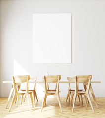 White dining room interior, poster