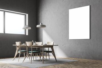 Gray dining room corner, poster