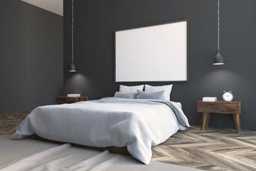Gray Scandinavian bedroom corner, poster