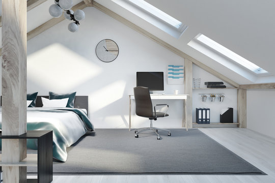 Attic bedroom and home office interior