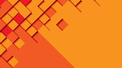 Abstract geometric paper cut web banner template on orange background.Vector illustration.