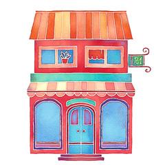 Watercolour colorful cartoon building, house exterior