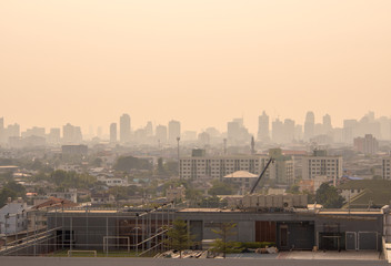 Cityscape urban skyline in the mist or smog. Wide and High view image of Bangkok city in the soft light