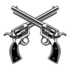 Emblem template with crossed revolvers. Design element for logo, label, emblem, sign.