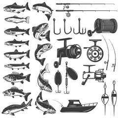 Set of fishing icons. Fish icons, fishing rods. Design element for logo, label, emblem, sign.