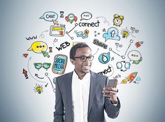 African American man, smartphone, social media