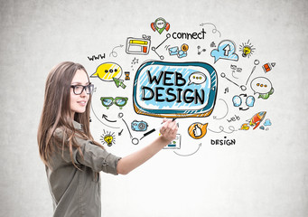 Smiling woman with a marker, web design