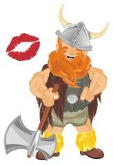 viking, warrior, pirate, robber, barbarian, soldier, man, wild, illustration, cartoon,  red, orange, kiss, ax