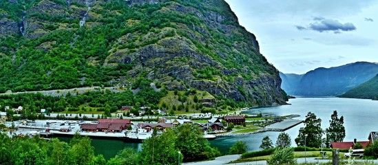 Printed kitchen splashbacks City on the water Norway-panoramic view on the port in town Flam