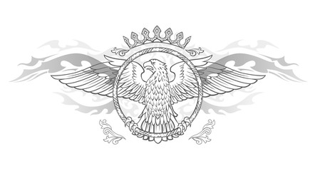 Spread winged eagle in ring insignia