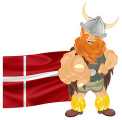 viking, warrior, pirate, robber, barbarian, soldier, man, wild, illustration, cartoon,  red, orange, flag