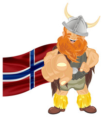 viking, warrior, pirate, robber, barbarian, soldier, man, wild, illustration, cartoon,  red, orange, flag, gesture