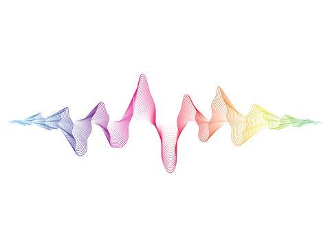 Vector colorful sound wave line dynamic flowing on white background for sound, music concept.