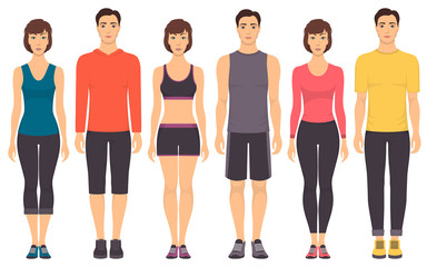 Couples in sportswear. Young men and women standing in full growth in different sports clothes for exercises in gym, running, fitness. Vector illustration, isolated.