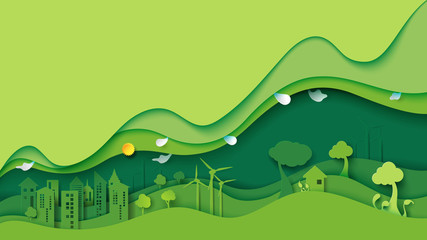 Aluminium Prints Lime green Ecology and environment conservation creative idea concept design.Green eco urban city and nature landscape background paper art style.Vector illustration.