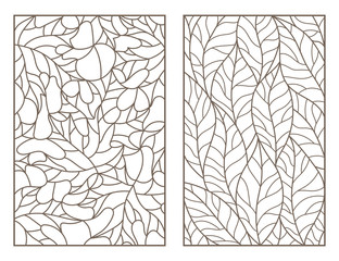 Set of outline illustrations of stained glass Windows with leaves of different trees, dark outlines on light background