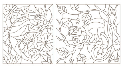 Set of contour illustrations of stained glass Windows with chameleons on tree branches dark contours on a light background