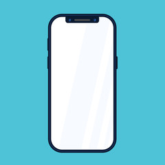 new phone front side vector drawing eps10 format isolated on blue background  - vector illustration in flat style