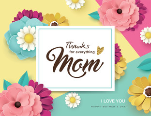 Happy Mother's Day greeting card with beautiful blossom flowers