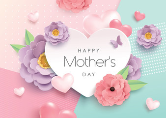 Mother's day greeting design with beautiful blossom flowers