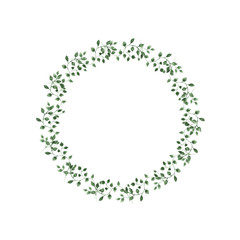 Watercolor illustration green leaves circle on isolated background.