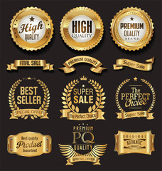 Luxury white labels collection vector illustration