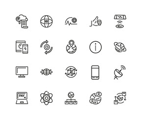 Set of Internet Technology Line Icons