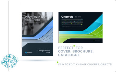 Template. blue green Creative abstract design of brochure set, horizontal cover, flyer in A4 with colourful smooth shapes