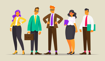 Team of successful business people. Vector illustration