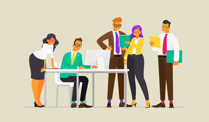 Teamwork. Process of work of business people. Vector illustration