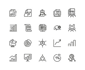 Set of Report and Diagram Line Icons