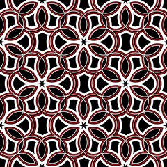 Seamless geometric pattern. Black red and white background