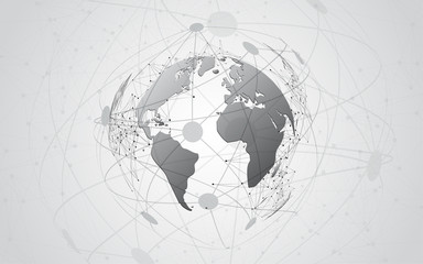 Global network connection World map abstract technology background global business innovation concept Wall mural