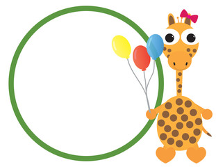 Cute giraffe cartoon holding colorful balloons