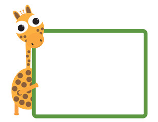 Cute giraffe cartoon holding green frame