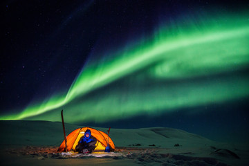 Expedition in the Wintertime on the Arctic Circle