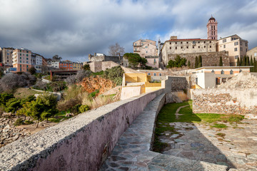 Ancient fortress in Bastia, on the island of Corsica, France. Travel to Europe, the Mediterranean Sea