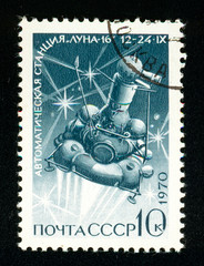 Ukraine - circa 2018: A postage stamp printed in Soviet Union, USSR show Station Luna-16 in flight. Series: Soviet Automatic Station Luna-16. Circa 1970.