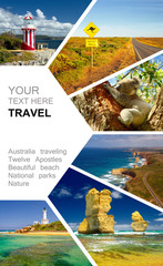 Photo sur Plexiglas Océanie Photo collage of Australia. Great Ocean Road. Twelve Apostles. Travel