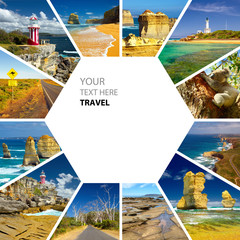 Aluminium Prints Oceania Photo collage of Australia. Great Ocean Road. Twelve Apostles. Travel