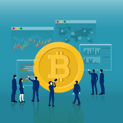 Flat design cryptocurrency bitcoin trading, Vector illustration concepts for business market online bitcoin trading.