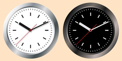 Images of wall clocks. Light and dark options. The concept of world time. Internet Marketing. Daily infographics.