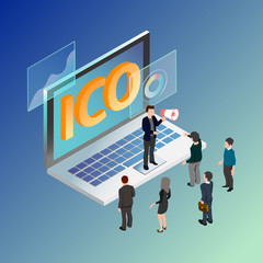 cio Initial coin offering infographic gradient and neon concept. vector illustration