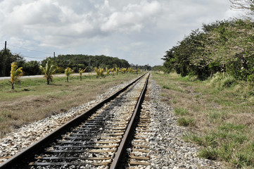 Eisenbahnschienen, bei Santa Clara, Santa Clara Provinz, Santa Clara, Kuba, Große Antillen, Karibik, Mittelamerika, Amerika, Mittelamerika