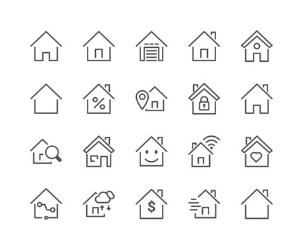 Minimal Set of Smart Home Line Icons. Editable Stroke.