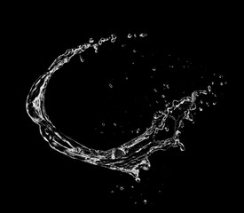 Water splash shape isolated on black background