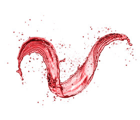 Red wine abstract splash shape on white background